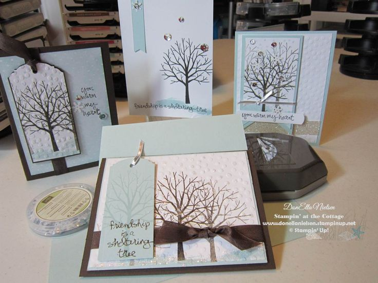 Cards made by DonElla Nielsen, Stampin' at the Cottage, using Stampin' Up Sheltering Tree from the new Occasions Catalog!
