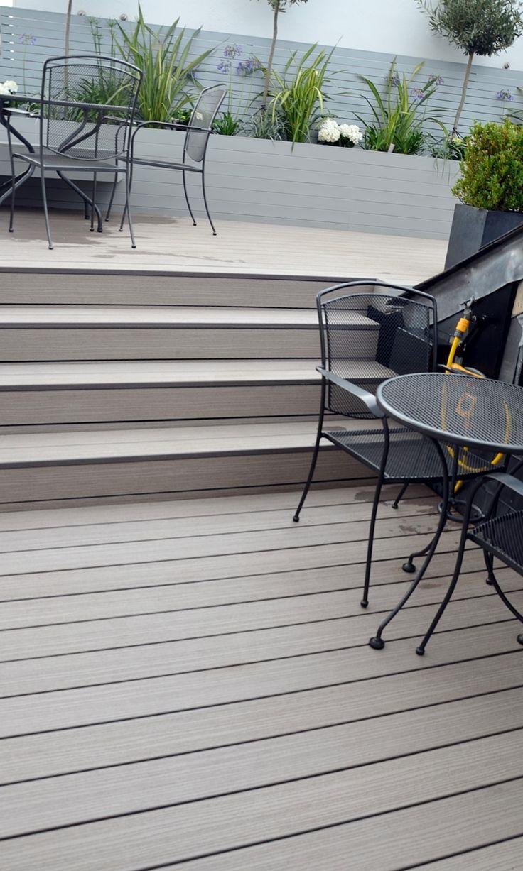 Modern Garden Design Docklands Penthouse Balcony Decking Planting Floating Bench Composite Grey