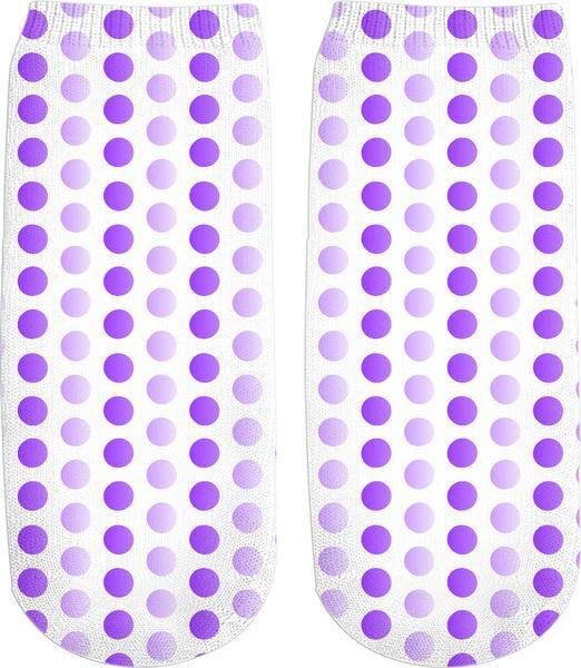Purple, violet, two color tones polka dot pattern, classic, vintage pattern ankle socks design - item printed by RageOn.com, also available at casemiroarts.com