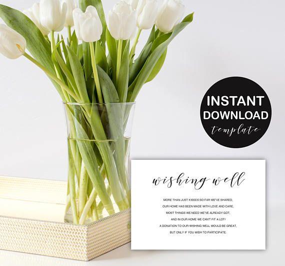 Wishing well Elegant wedding card template  gift registry