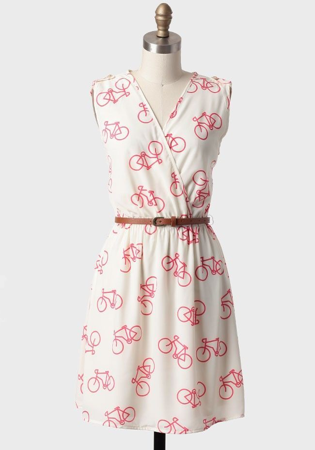 Joy Ride Belted #Bicycle Print Dress