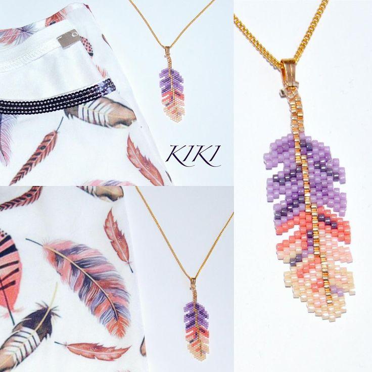 My favourite Orsay top with my beaded pendant #beaded #pendant #orsay #top #beaded #miyuki #miyukibeads #peyotestitch #peyote #beadwork #jewelry #jewellery #feather #feathers #ethnic #earrings #pendant #necklace #beadedpendant #uniquejewelry #handmade #handmadejewellery #handmadejewelry #fashion #colorful