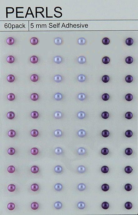 "60 PURPLE/LILAC SELF ADHESIVE PEARLS - ⅕"" (5mm)"