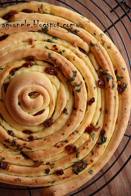 Herb bread. Make a focaccia by circling breadsticks, drizzling with olive oil and adding cheese and herbs.