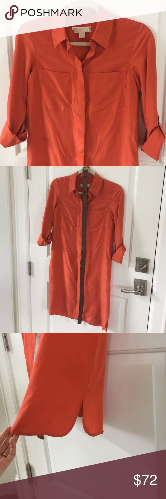 Michael Kors 100% silk pocket shirt dress Beautiful orange MICHAEL Michael Kors ultra luxurious silk shirt dress! Excellent condition. I absolutely adore this dress but I am pregnant with baby no. 2 and don't see wearing it anytime soon. I especially don't want to wear a high quality fabric around kids in fear it would be ruined. This dress is perfect for all seasons! Wear it with wedges in the Spring and Summer and boots in the fall and winter! I purchased the belt separately to go with it…