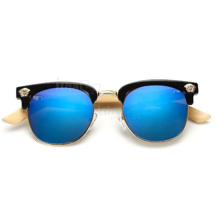 UV400 Korumalı, Gerçek Ahşap Güneş Gözlükleri - IGD090613436 - Vintage Güneş Gözlükleri, Ayna Camlı Güneş Gözlükleri, Bambu Güneş Gözlükleri