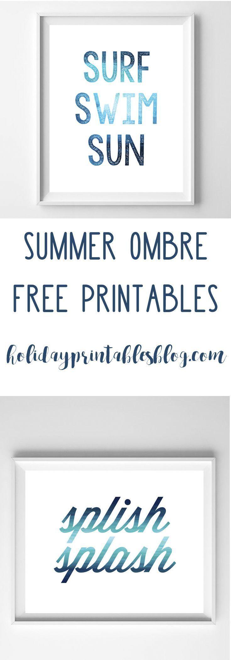 Summer Art | Free Printable Art | Wall Art Ideas | Blue Ombre | Coastal Decor | Beach House | Free Printables