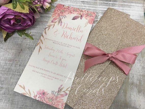Glitter Pocketfold Invitation, Champagne And Dusky Pink Wedding Invitation,  Floral Wedding Invitation, Modern