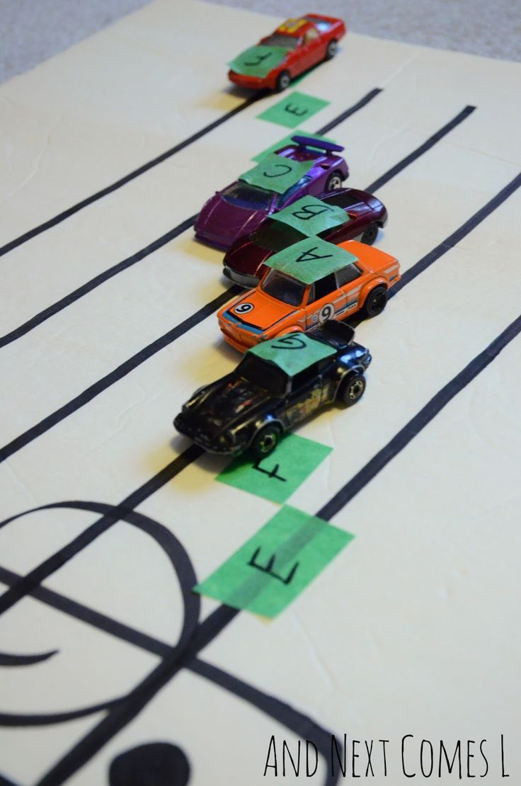 Amazing idea! Music theory game for kids: learning about grand staff using cars from And Next Comes L