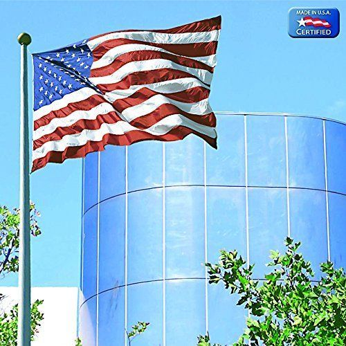 This Original American Flag, with sewn stripes and embroidered stars is extremely durable all weather flag. This U.S. flag is made from heavyweight spun polyester and engineered to allow wind to pass through, reducing the stress on the flag. It is the best outdoor flag for commercial or institutional use, high wind areas or daily use. It comes with a one year ColorFast Guarantee. Like all of our American flags, it is made in the USA.