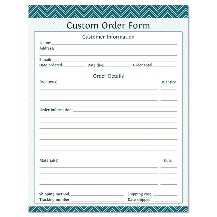 Business Form Custom Order Form  Fillable  Business Planner