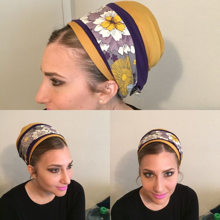 Purple/brown mustard and flower print Israeli tichel full head cover. www.elishevashoham.com