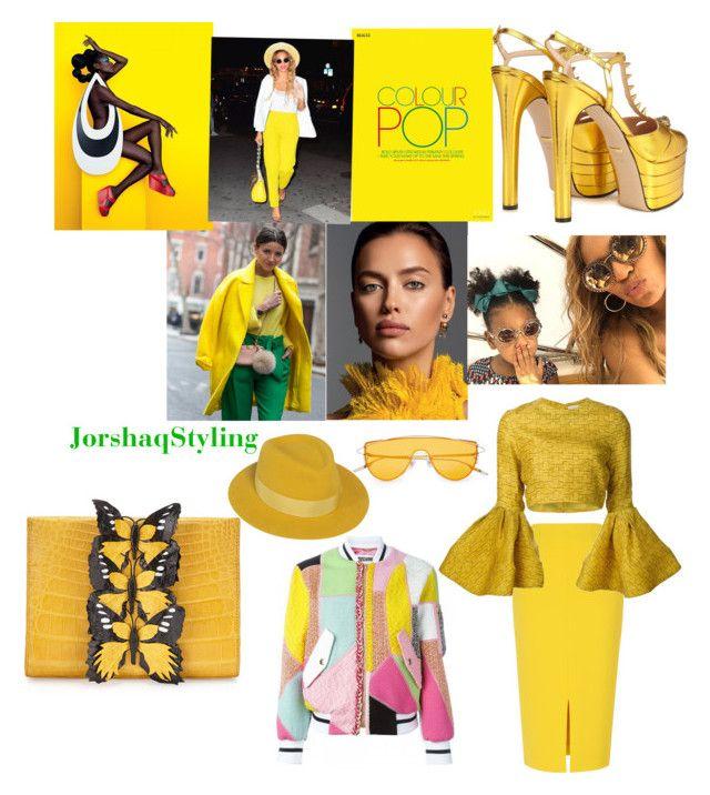 """Yellow Pop"" by jorshaq on Polyvore featuring L.K.Bennett, Gucci, Nancy Gonzalez, Christian Siriano and Maison Michel"