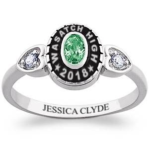 Ladies Sterling Silver Traditional Oval Stone & CZ Heart Class Ring