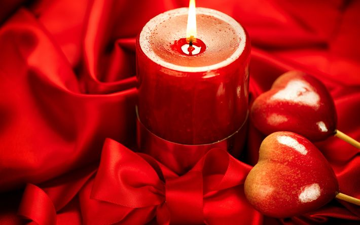 Download wallpapers valentines day, red burning candle, red hearts, romantic evening