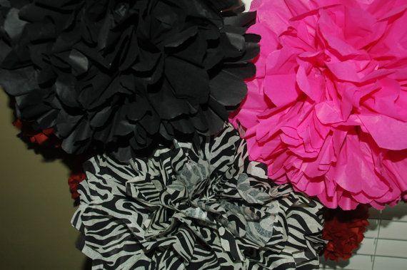 Hot Pink zebra pom decorations  bachelorette birthday by DecoPOMS, $20.00