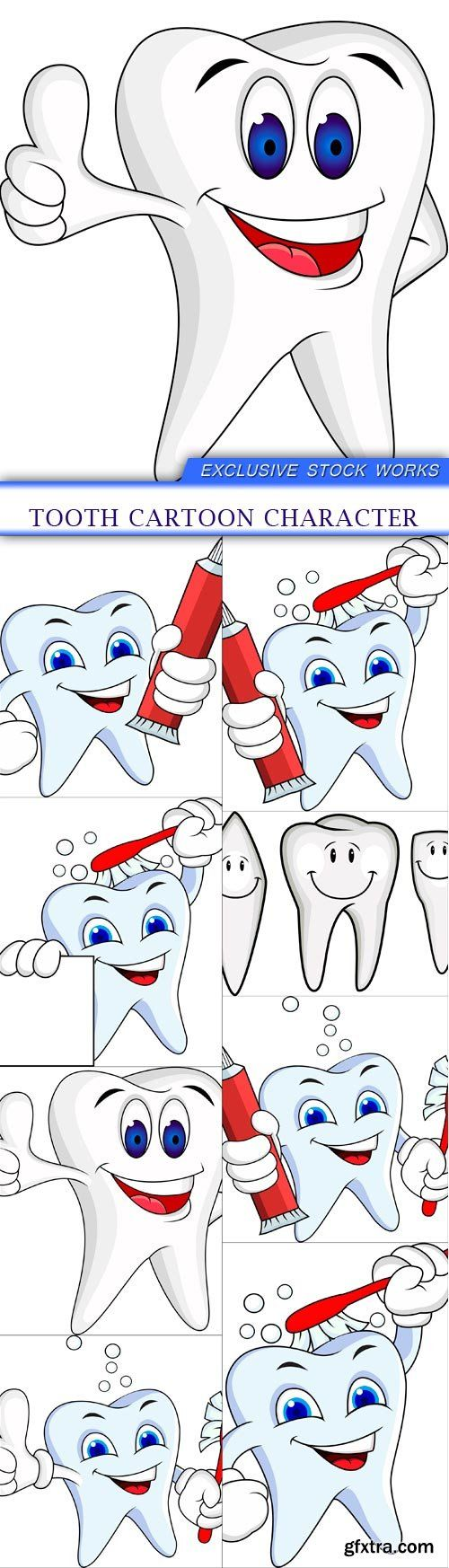 Tooth cartoon character 8X EPS