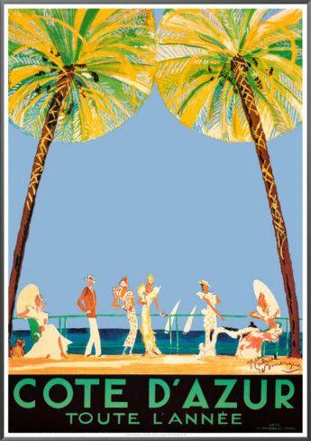 Vintage Travel Poster - South of France Cote d'Azur