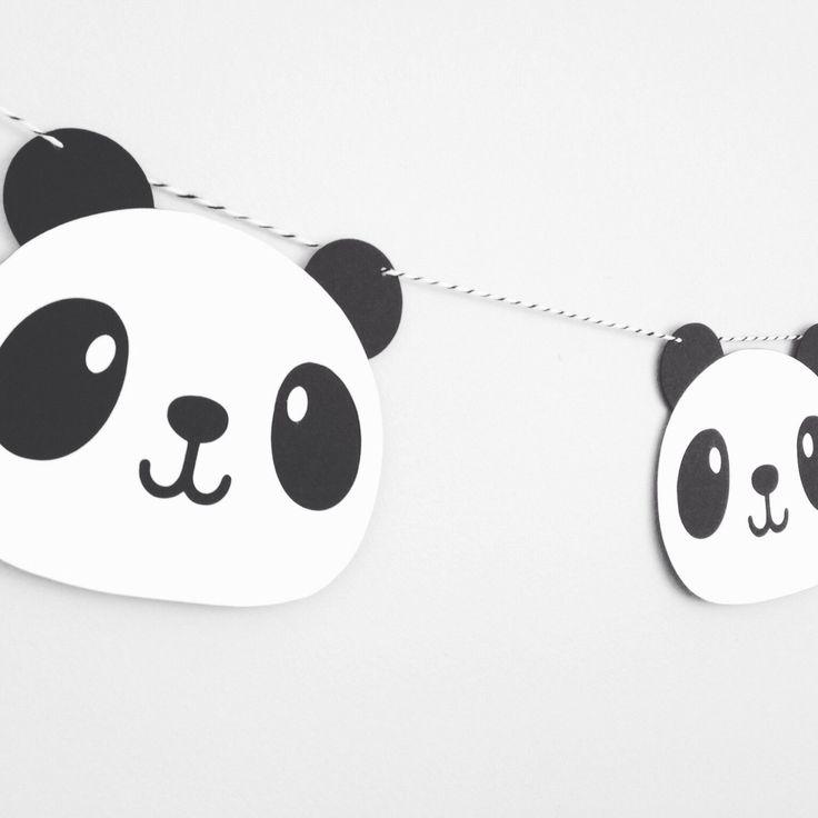 Panda garland - kawaii - panda party - birthday party decor - nursery decor - wall decor - black white panda face by GlitterPaperScissor on Etsy https://www.etsy.com/listing/481359097/panda-garland-kawaii-panda-party