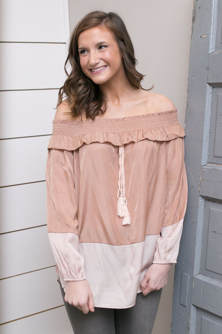 Nude Smocked Neck Top