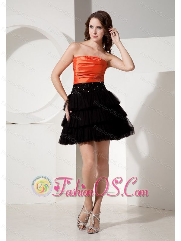 Tulle Black and Orange Strapless Necline Mini-length Custom Made Short Prom Dress With Deaded Decorate Waist- $123.02  http://www.fashionos.com  | sweetheart beaded prom dress | corset style closure prom dress | cheap prom dress around 100 | red chiffon prom dress | 2013 2015 short prom cocktail gown |
