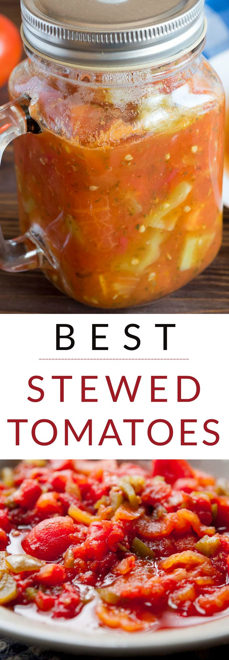 The BEST Stewed Tomatoes Ever recipe!  This easy to make recipe simmers tomatoes for 30 minutes to make homemade stewed tomatoes that can be served as a dinner side dish or can be canned.  This how to make recipe shows you how easy they are to make! Find