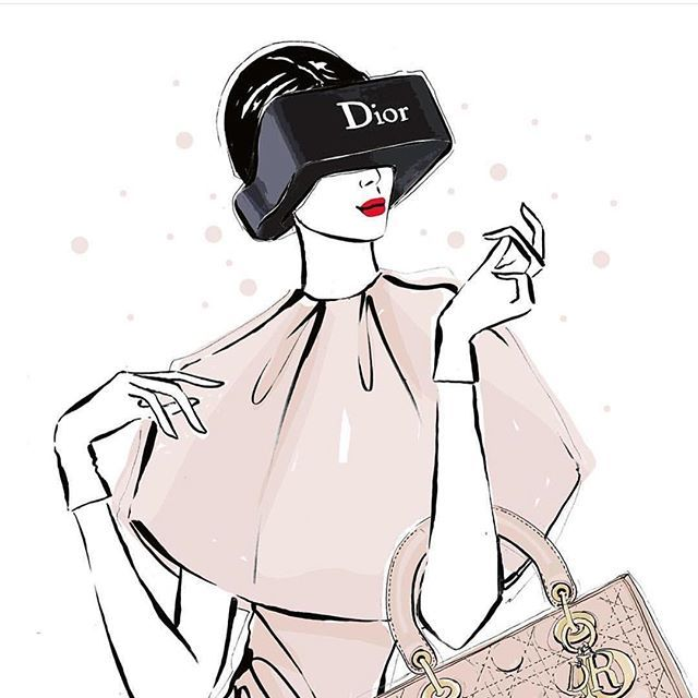 I really do get to draw so many fun things! This one was of the new 3D @dior visions - the virtual...