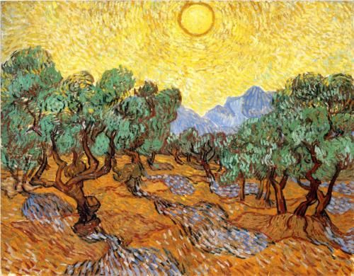 Olive Trees with Yellow Sky and Sun - Vincent van Gogh
