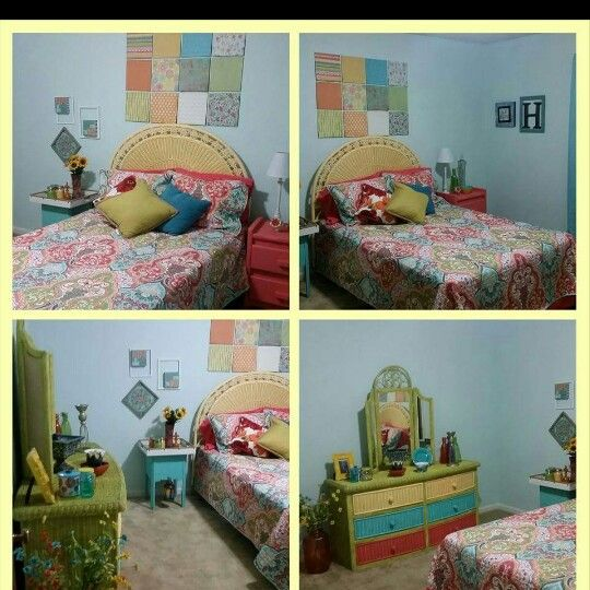 Fun, bright guest room with repainted wicker furniture.