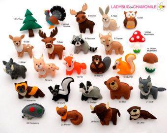ASIATISCHE Tiere Filzmagnete Preis pro 1 von LADYBUGonCHAMOMILE