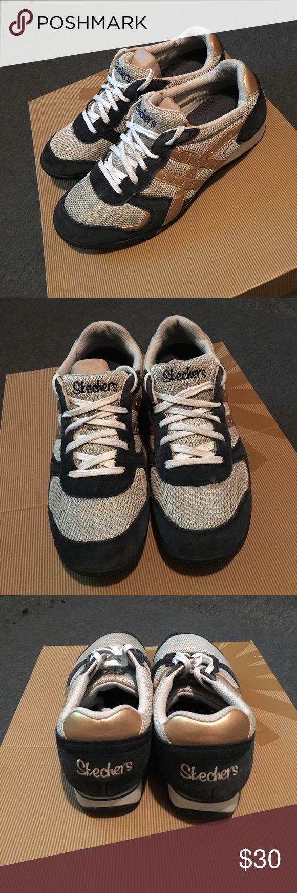 Sketchers sneakers Very comfortable sketchers sneakers breathable size 9.5 women gray gold and blue gently worn Skechers Shoes Sneakers