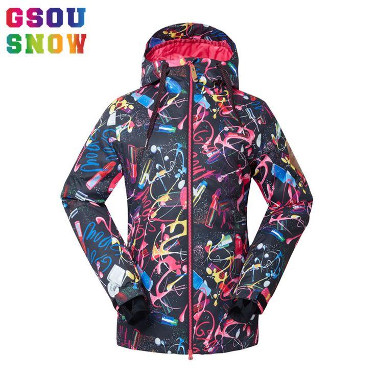 2016 Gsou Snow Skiing Jacket Women Waterproof Winter Ski Jacket Breathable Warmth Snowboarding Jackets Female Cheap Ski Clothing