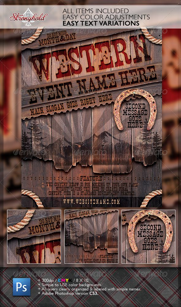 Vintage Western Wood Flyer Template Miscellaneous Events