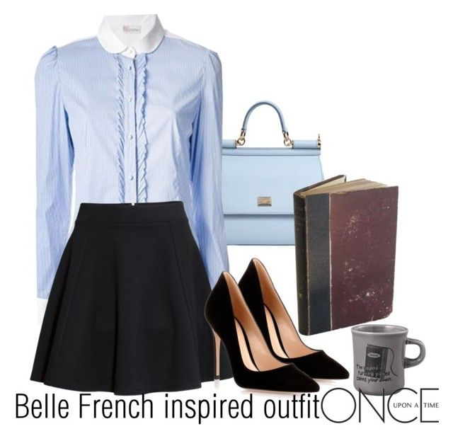 """""""Belle French inspired outfit/OUAT"""" by tvdsarahmichele ❤ liked on Polyvore featuring Dolce&Gabbana, Once Upon a Time, H&M, Gianvito Rossi and Kinto"""