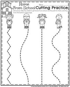 Back to School Preschool Worksheets - Home from School Cutting Practice.