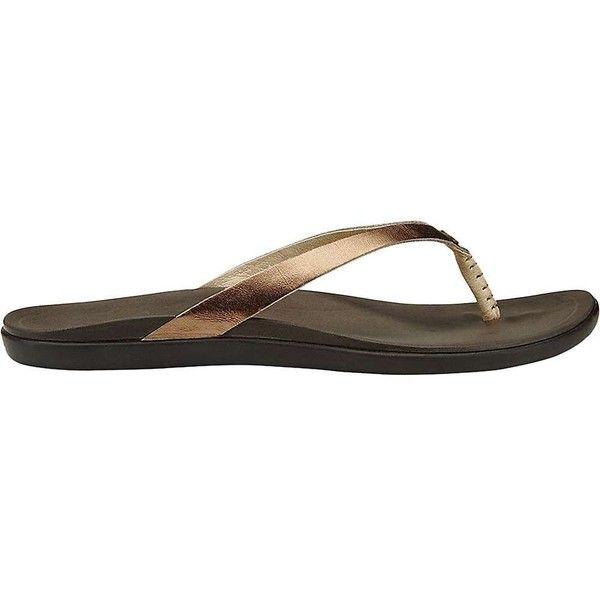 Olukai Women's Ho'opio Leather Sandal ($75) ❤ liked on Polyvore featuring shoes, sandals, genuine leather shoes, real leather shoes, leather sandals, olukai sandals and olukai