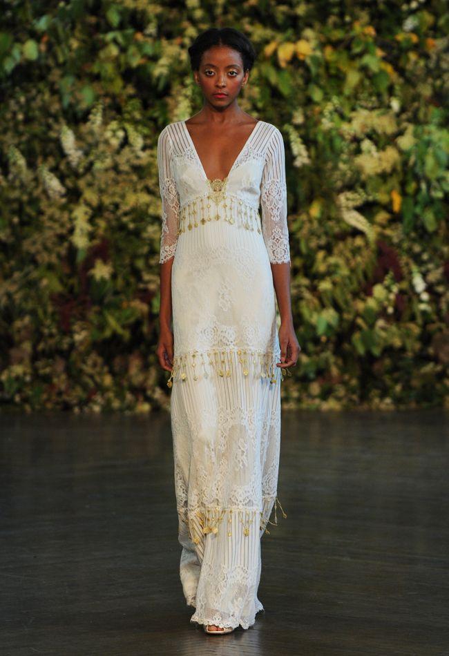 Gold Sleeve Sheath Wedding Dress   Claire Pettibone Wedding Dresses Fall 2015   Kurt Wilberding   blog.theknot.com