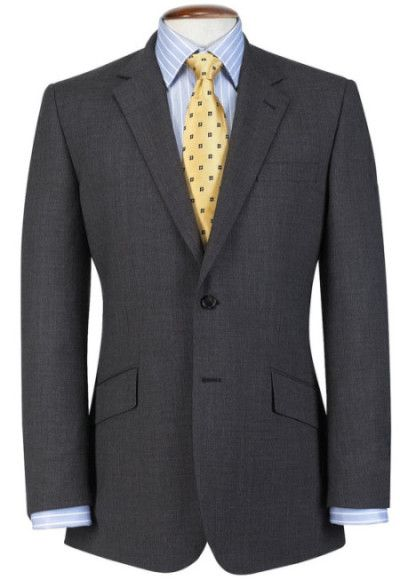 On the charcoal grey suit