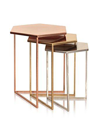 01c185463b Set of Three Hexagon Metallic Nesting Tables in 2019 | geometric ...