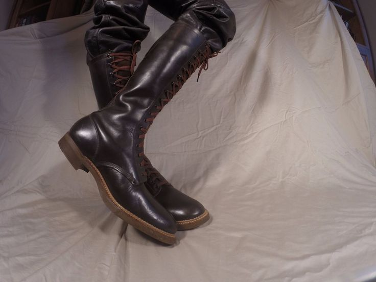 """Men's 1950s Chocolate Brown work boots ENDICOTT JOHNSON 16"""" TALL. A rare boot. Size 10 ½ EE. Near mint condition. Probably not worn more than a dozen times. I am told they may have been part us in a staged theatrical production. Genuine ½ inch thick cork sole  Would make great motorcycle boot or as part of a Paul Bunyan – lumberjack costume. Email for short video. 