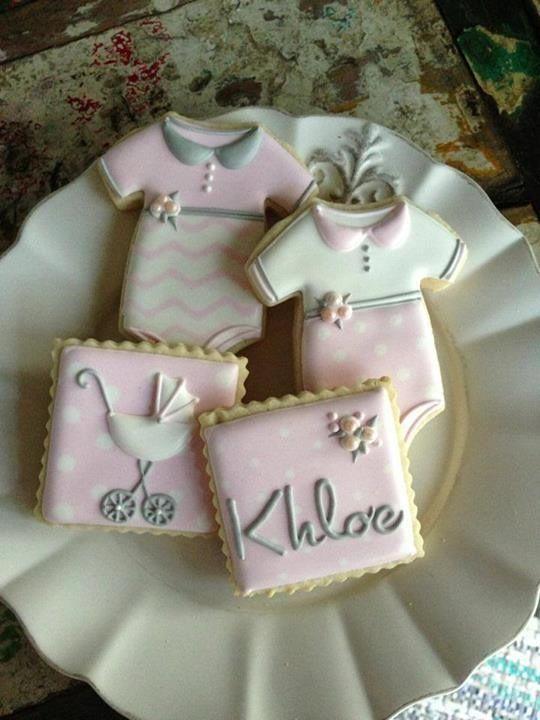 Baby shower cookies~       By bambella, baby pink, grey Onesie