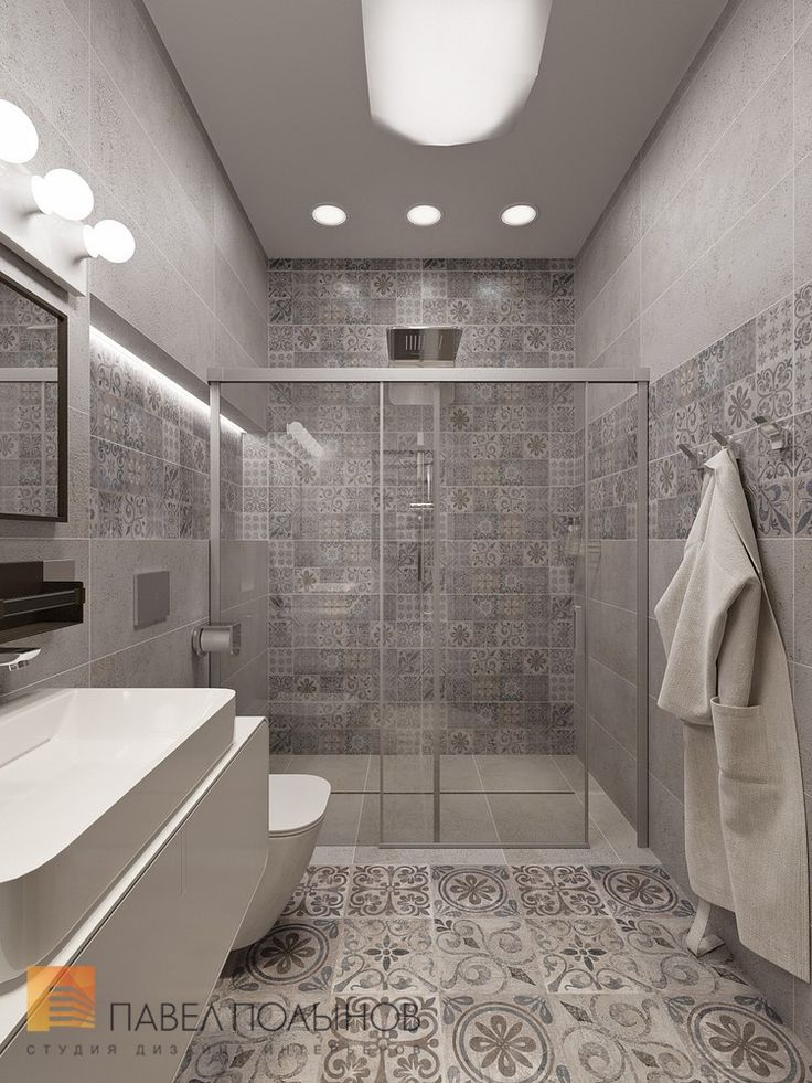 Дизайн душевой комнаты, стиль минимализм, ЖК Duderhof Club
