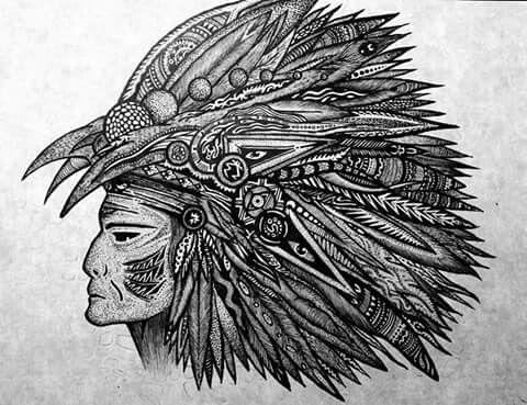 'Medicine Man' Pen and Ink illustration . E. E. Evangelidis