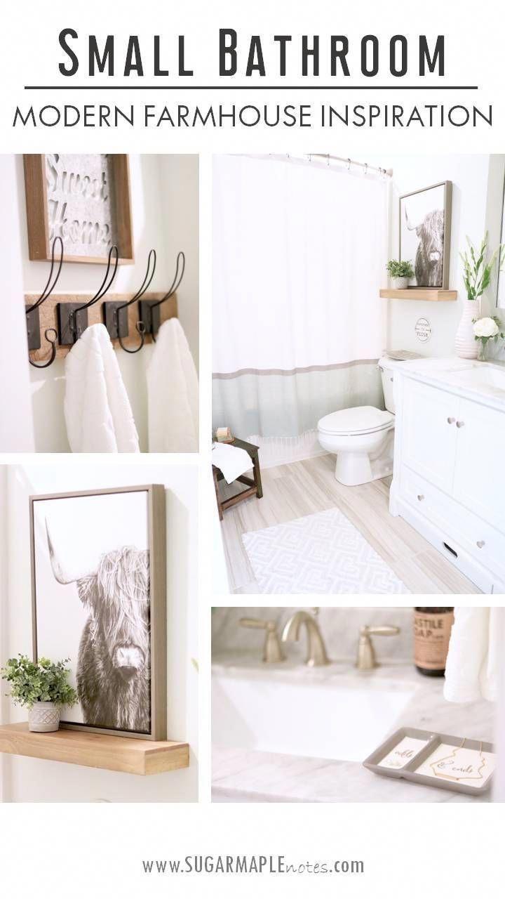 Small Bathroom Decor Ideas Farmhouse Style – Decorating a Small Bathroom – Moder…   – white tiled bathroom