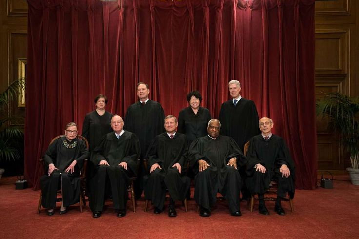 Seated, from left: Justice Ruth Bader Ginsburg, Justice Anthony M. Kennedy, Chief Justice John G. Roberts Jr., Justice Clarence Thomas and Justice Stephen G. Breyer. Standing, from left: Justice Elena Kagan, Justice Samuel A. Alito Jr., Justice Sonia Sotomayor and Justice Neil M. Gorsuch. The Supreme Court is back at full strength after a fight over a vacant seat that lasted more than a year.