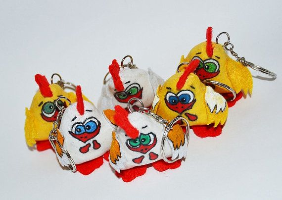 Textile  Rooster toys keychain keys to stick cock by SimonsCatShop