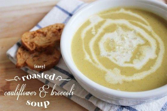 Roasted cauliflower & broccoli soup | great recipe ideas | Pinterest