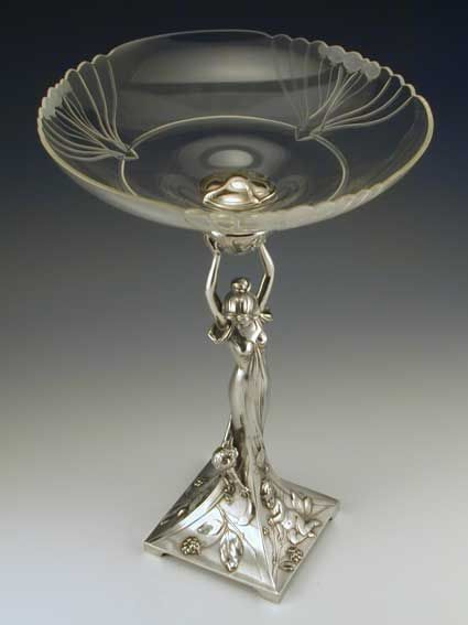 Silver-plate on pewter & cut glass tazza with art nouveau full figural maiden & cherub. Germany - c.1906