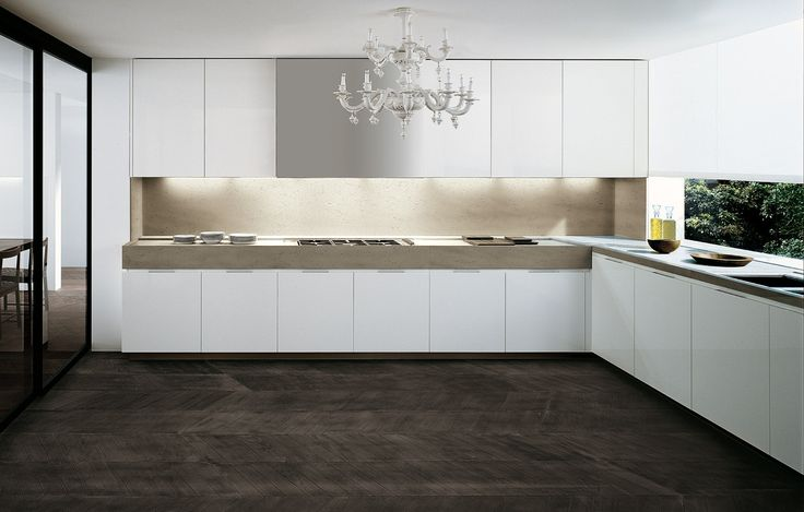 LACQUERED WOODEN KITCHEN MATRIX BY VARENNA BY POLIFORM | DESIGN PAOLO PIVA