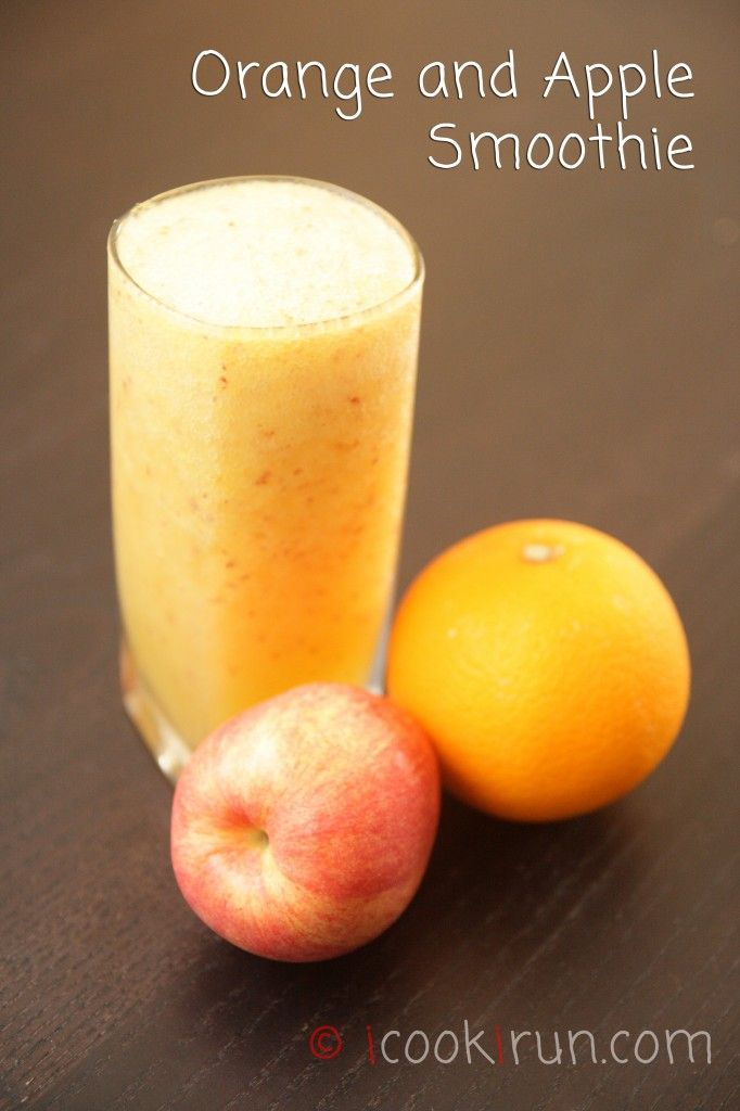 Orange and Apple Smoothie | 1 orange, 1 red apple, cored and sliced, 1 cup ice cubes, 1/2 cup water
